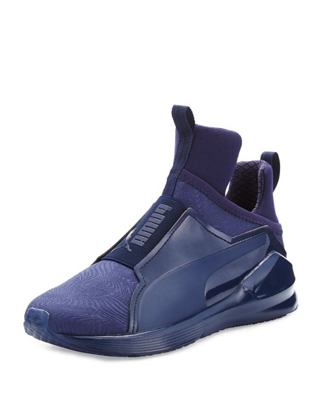 Fierce Embossed High-Top Sneaker, Peacoat