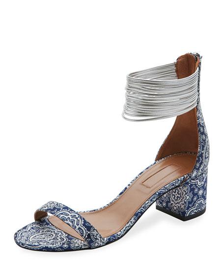 Spin Me Around Multi-Strap Sandal, Damask Blue