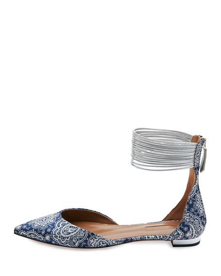 Hello Lover Ankle-Strap Flat, Damask Blue