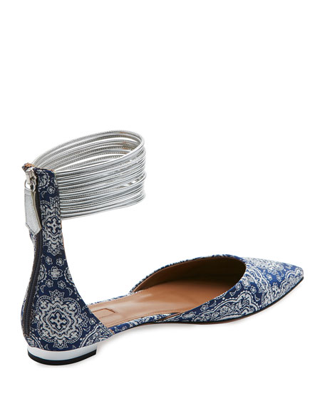 Hello Lover Ankle-Strap Flat, Damask Blue