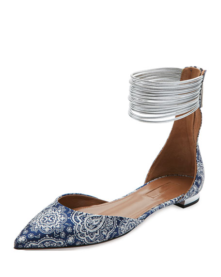 Aquazzura Hello Lover Ankle-Strap Flat, Damask Blue