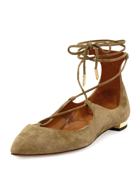 Christy Suede Lace-Up Flat, Truffle