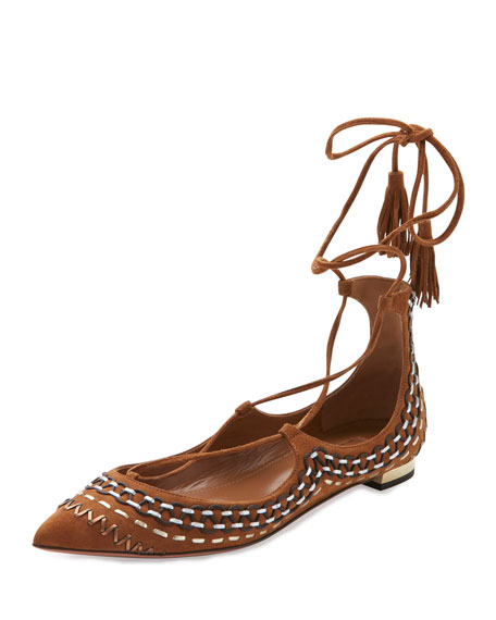 Aquazzura Christy Folk Suede Ankle-Wrap Flat, Cognac