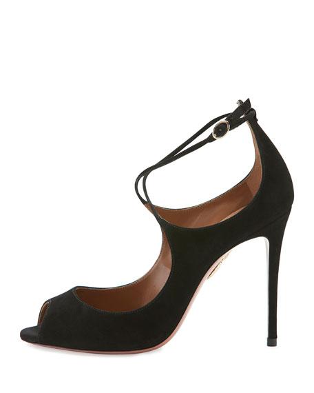Zani Suede 105mm Sandal, Black