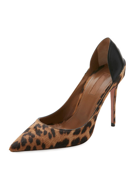 Aquazzura Fellini Calf Hair & Leather Pump, Caramel