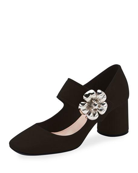 Suede Mary Jane Pump w/Flower Buckle, Black
