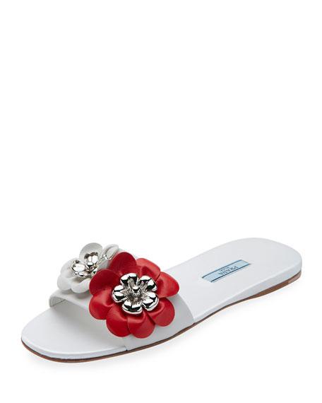 Floral-Embellished Leather Flat Slide, Bianco/Lacca
