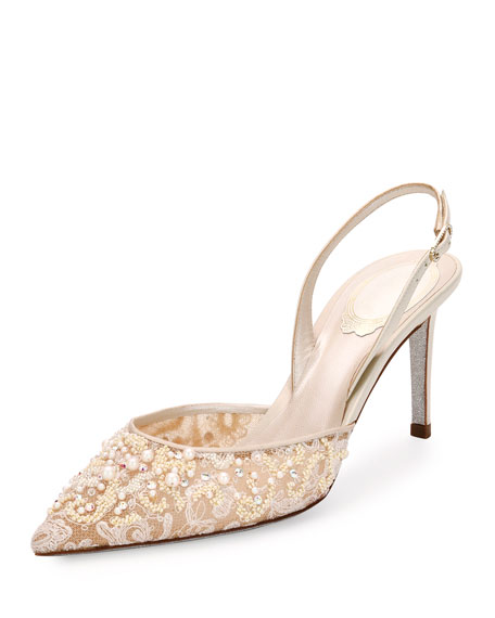 Pearly Lace Slingback Pump, Ivory