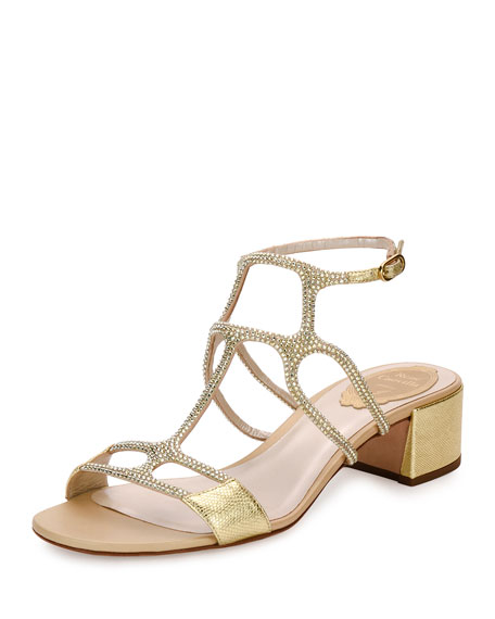Rene Caovilla Geometric Crystal City Sandal, Gold