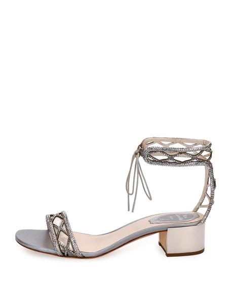 Crystal-Studded 40mm Ankle-Tie Sandal, Silver
