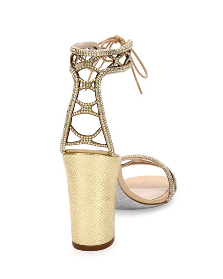 Crystal-Studded 90mm Ankle-Tie Sandal, Gold