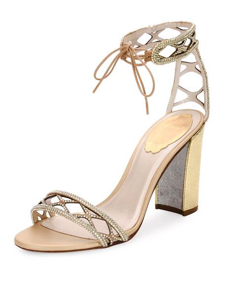 Crystal-Studded 90mm Ankle-Tie Sandal, Gold
