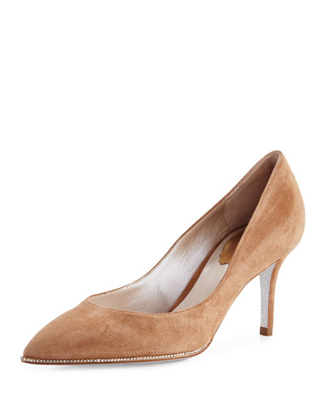 Rene Caovilla Crystal-Trim Suede 70mm Pump, Beige