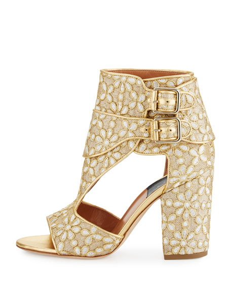 Rush Floral-Embroidered Open-Toe Bootie, Gold