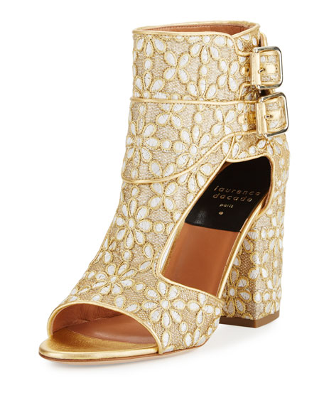 Rush Floral-Embroidered Open-Toe Booties, Gold