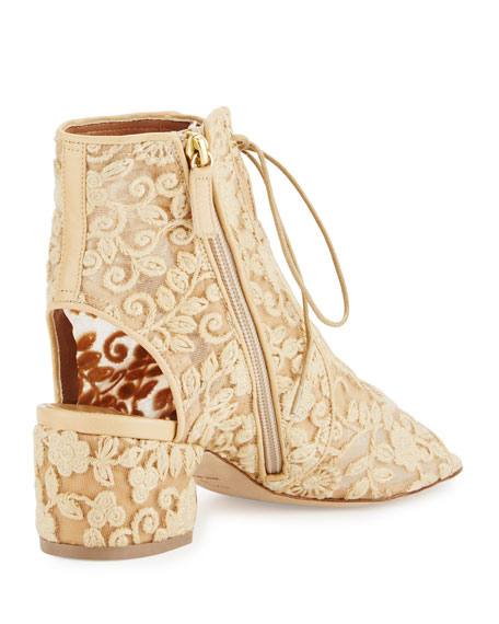 Naiade Crocheted Lace-Up Bootie, Natural
