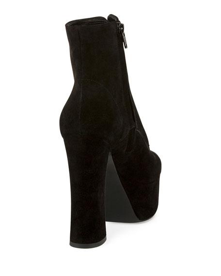 Lace-Up Suede Platform Boot, Black (Noir)