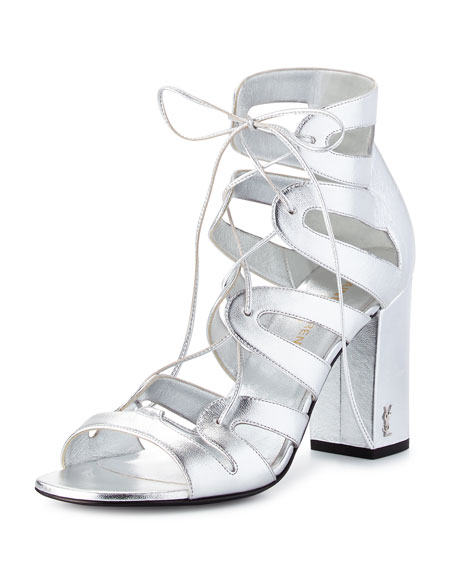 Babies Lace-Up Block-Heel Sandal, Platine