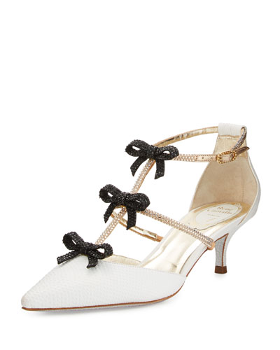 Snakeskin Bow-Embellished T-Strap Pump, White/Black