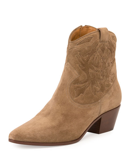 Rock Embroidered Western Bootie, Light Cigar