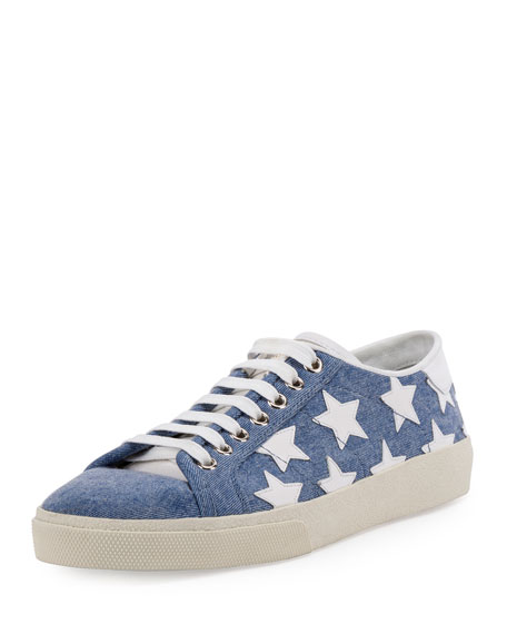 Court Classic Denim Low Top Sneaker, Washed Blue/Off White Stars