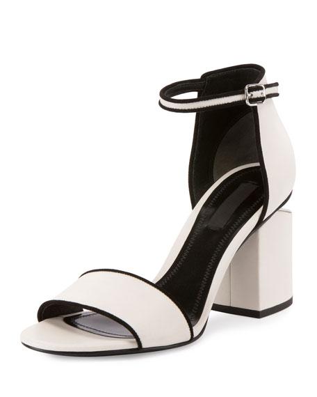 Alexander Wang Abby Tilt-Heel Leather Sandal, Bone