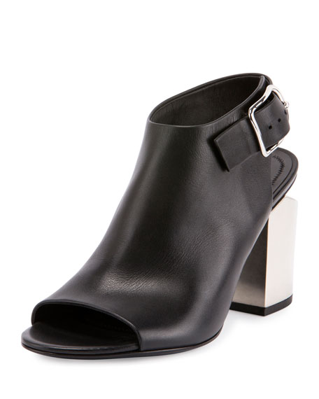 Alexander Wang Nadia Leather Open-Toe Bootie, Black/Silver