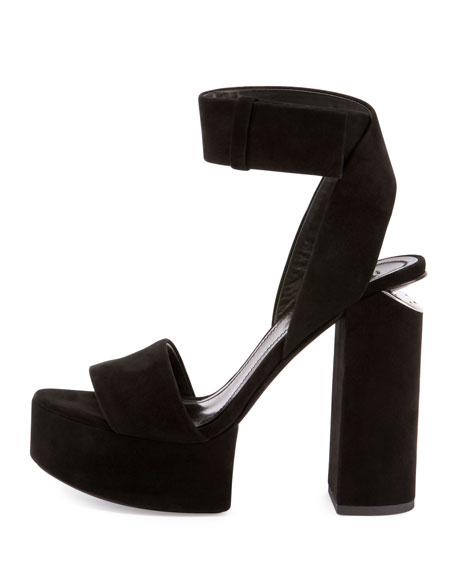 Keke Suede Platform Ankle-Cuff Sandal, Black