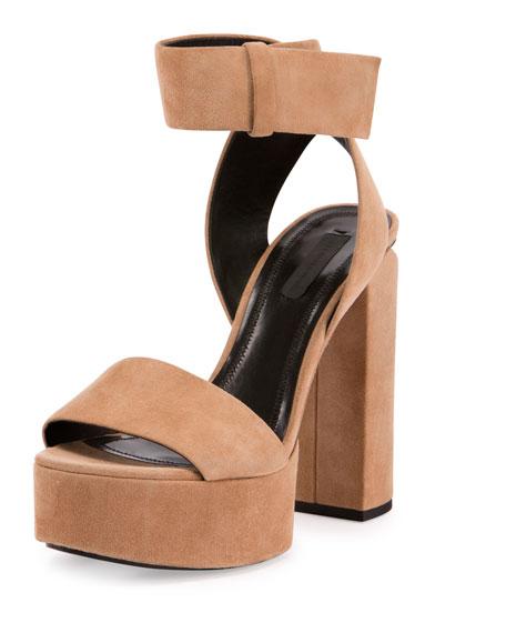 Alexander Wang Keke Suede Platform Ankle-Cuff Sandal, Clay