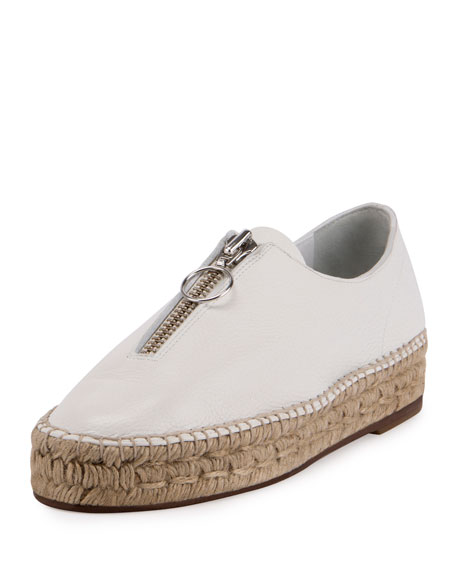 Alexander Wang Devon Zip-Front Espadrille Flat, Optic White