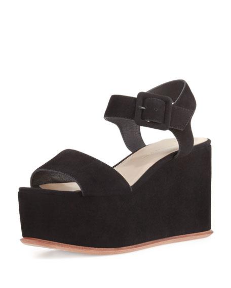 1ca1db5094 Loeffler Randall Alessa Suede Platform Wedge Sandal, Black
