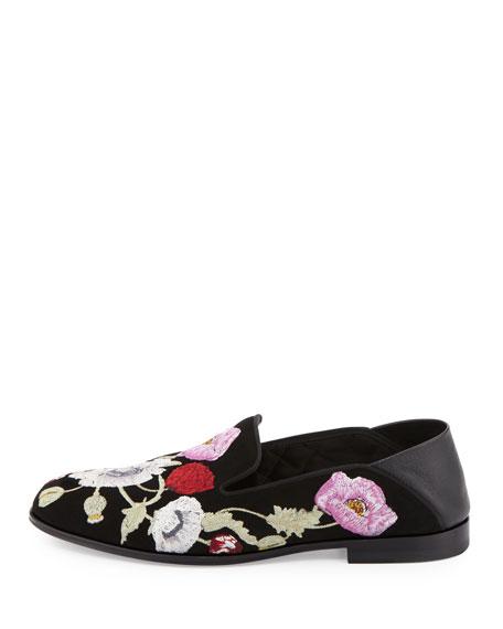 Flower-Embroidered Suede Loafer, Black/Multi