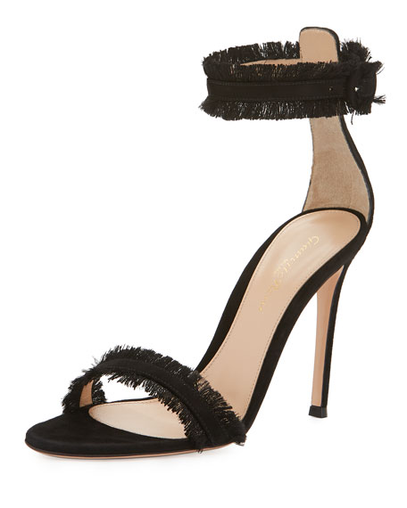 Fringed Suede Sandal, Black