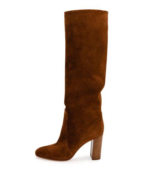 Suede Stack-Heel Knee Boot, Texas