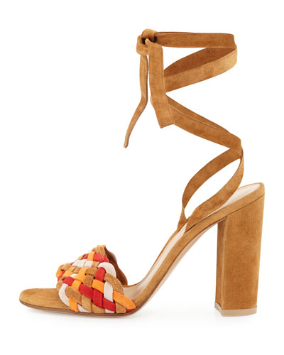 GIANVITO ROSSI Suedes WOVEN SUEDE ANKLE-WRAP SANDAL, ALMOND SPRITZ