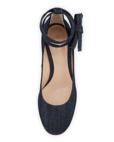 Petra Block-Heel Ankle-Wrap Pumps, Denim