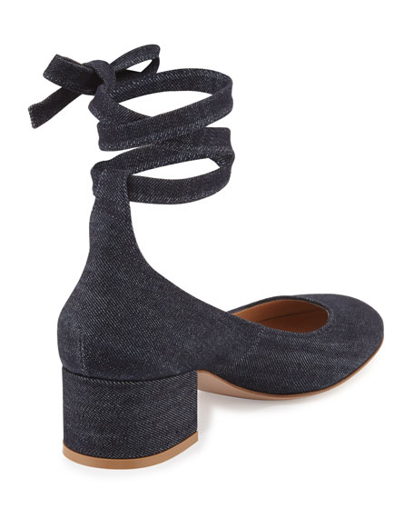 Petra Block-Heel Ankle-Wrap Pump, Denim