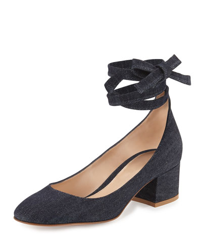 Petra Block-Heel Ankle-Wrap Pump, Denim