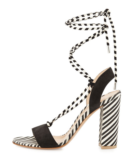 Nautical Striped Lace-Up Sandal, Black