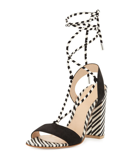 Gianvito Rossi Nautical Striped Lace-Up Sandal, Black