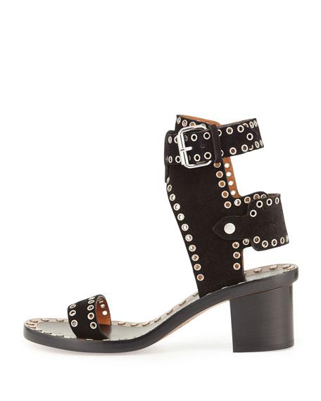 Jaeryn Grommet-Studded Suede Sandal