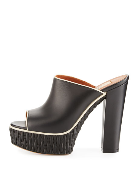 Woven Platform Mule Pump, Black/Light Ivory