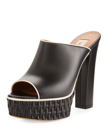 Valentino Woven Platform Mule Pump, Black/Light Ivory