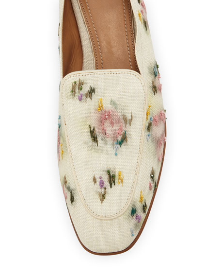 Adam Floral-Embroidered Raffia Loafer, Natural Paint