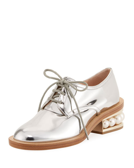Nicholas Kirkwood Casati Pearly Derby Oxford, Silver