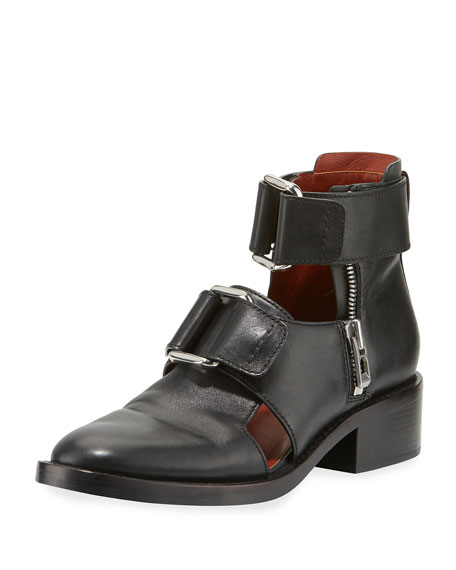 Addis Cutout Leather Buckle Boot, Black