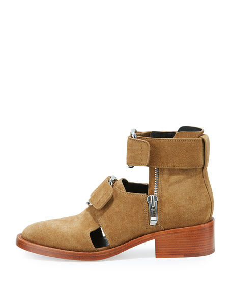 Addis Cutout Leather Buckle Boot, Oak