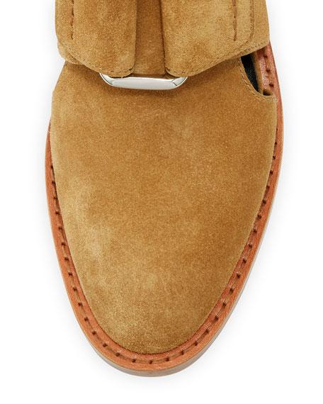 Addis Cutout Leather Buckle Boot, Oak