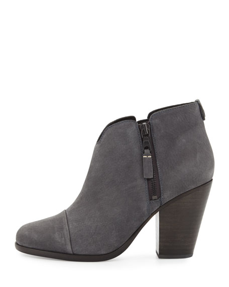 Margot Nubuck Leather Ankle Boot, Charcoal