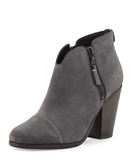 Margot Nubuck Leather Ankle Boots, Charcoal